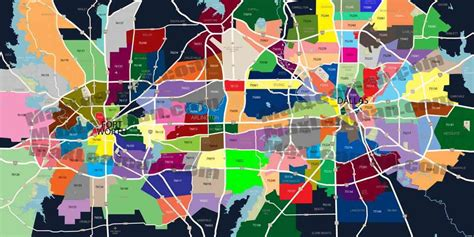 zip code map of dallas texas map of dfw map travel holidaymapq