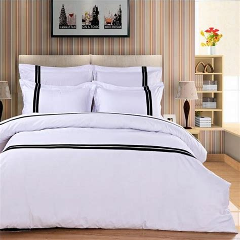 White Bed Linen Sets Aliexpress Buy Fashion Hotel Bedding Set White 4pcs Black Stripe Duvet Cover Color
