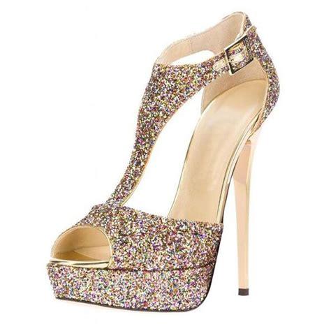 High Heels Wedding Gold Tb33 glittery leather peep toe slingback women s high heels