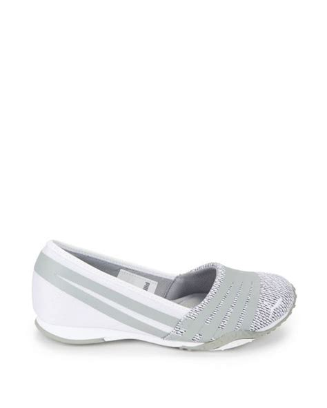 white leather slip on sneakers slip on leather mesh sneakers in white lyst