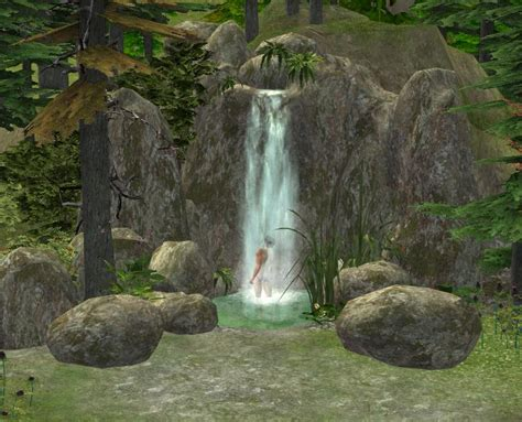mod the sims waterfall shower and tons of rocks d