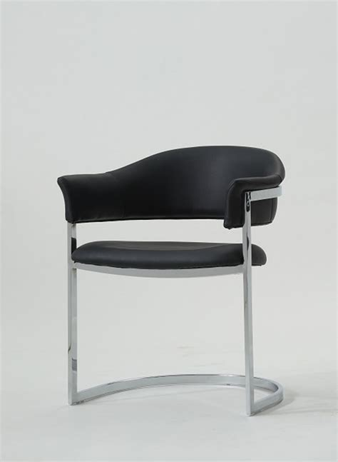 modrest contemporary black leatherette dining chair