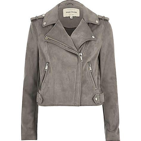 light gray womens light grey faux suede scuba biker jacket jackets coats