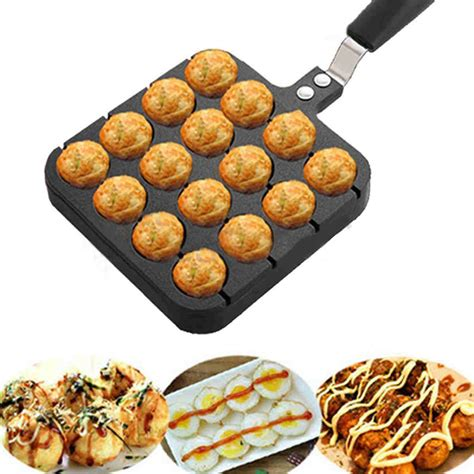 Kitchen Takoyaki 15 Holes 16 holes kitchen takoyaki grill pan plate cooking baking