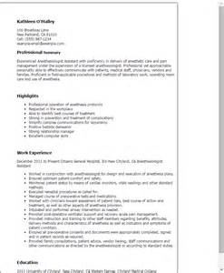 Anesthetist Curriculum Vitae Professional Anesthesiologist Assistant Templates To Showcase Your Talent Myperfectresume