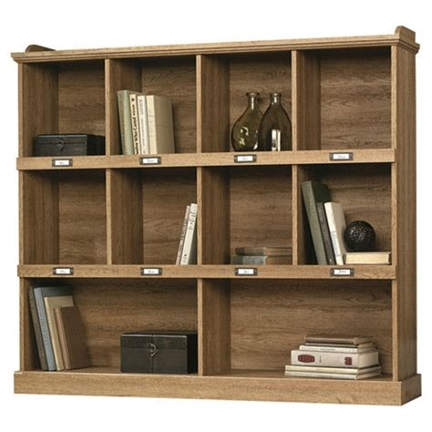 scribed oak wood finish   wide  shelf bookcase