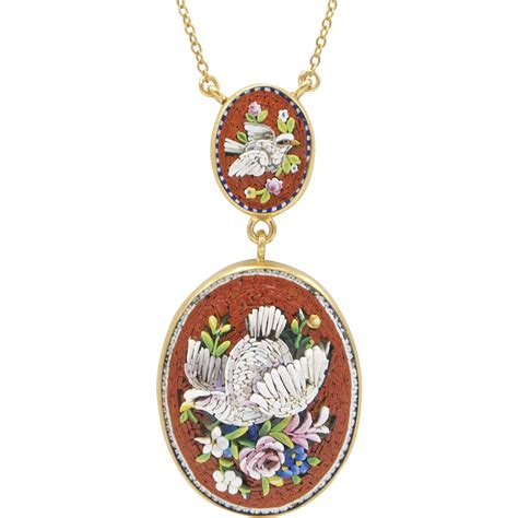 19th century micro mosaic pendant necklace from