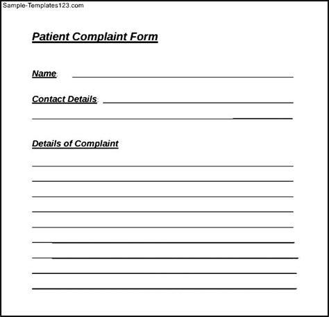 Template Letter Complaint On Health Care Exle Of Patient Complaint Form Sle Templates