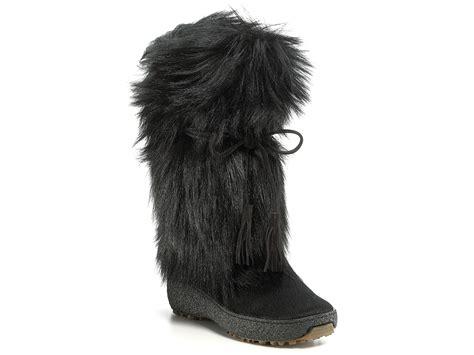 pajar fur boots pajar wedge boots in black