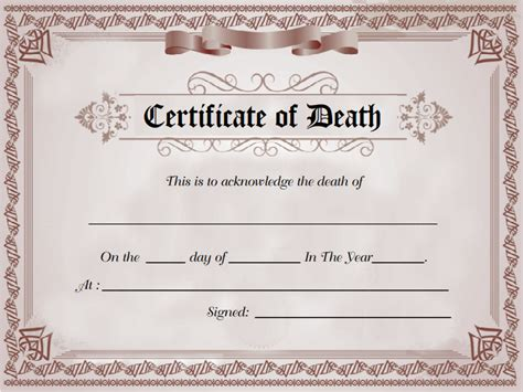 death certificate sle of death certificate template