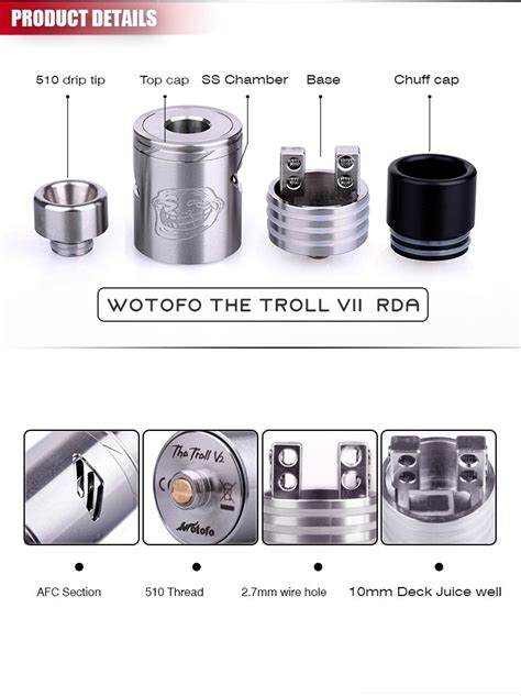 Restock Troll Rta Authentic By Wotofo authentic rta wotofo the troll v2 atomizer the troll 2 sub