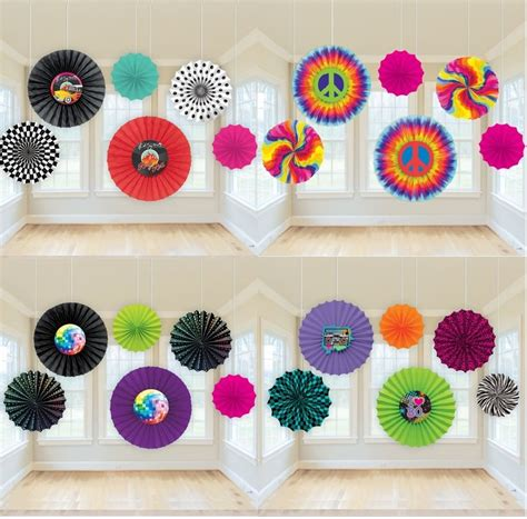 70 S 80 S Decorations by Decade Paper Fan Hanging Decorations 50s 60s 70s