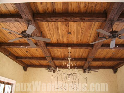 wood ceiling beams how to make a coffered ceiling w beams faux wood workshop