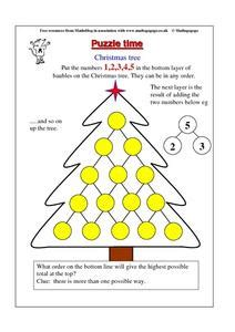 christmas tree math puzzle worksheet for 4th 5th grade