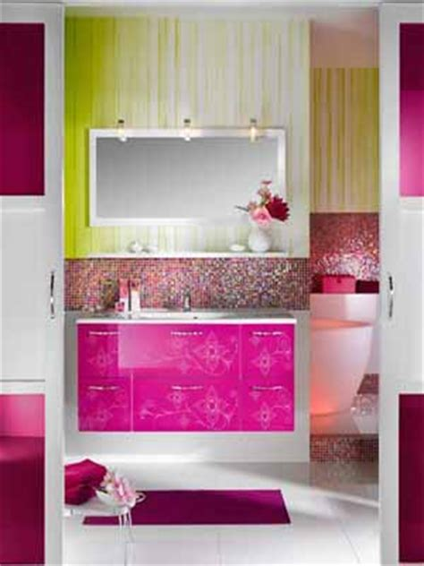 Contemporary Bathroom Decorating Ideas Bright Purple And Pink Pink And Green Bathroom Ideas