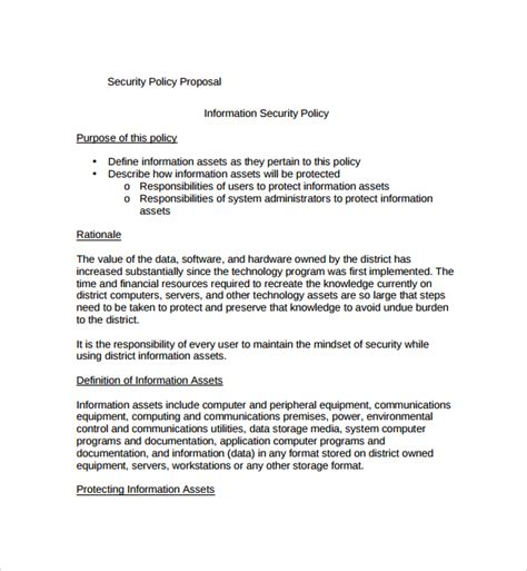 10 Policy Proposal Templates Sle Templates Computer Security Policy Template