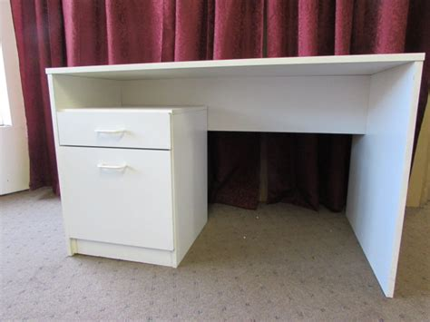 White Desk With File Drawers by Lot Detail White Desk With File Drawers