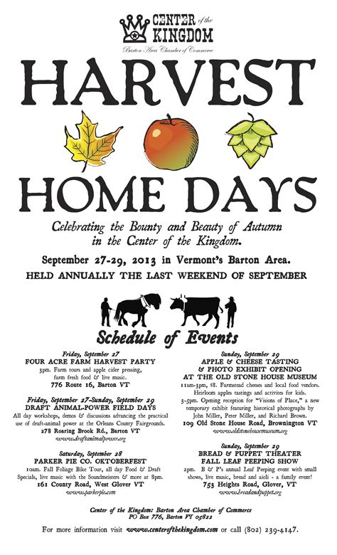 harvest home days september 27 29 barton area chamber