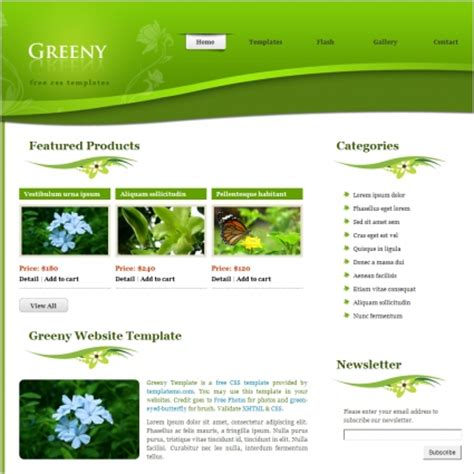 free header template greeny free website templates in css html js format for