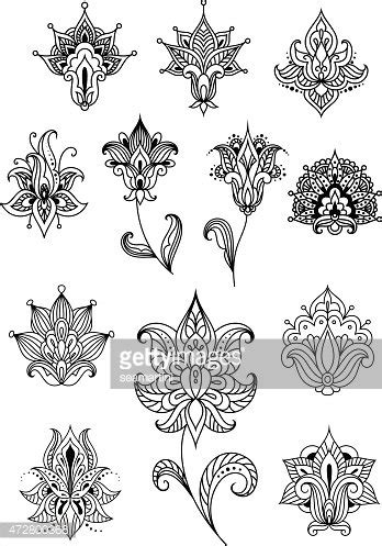 indian ornaments and design elements vector paisley design elements with outline indian ornaments