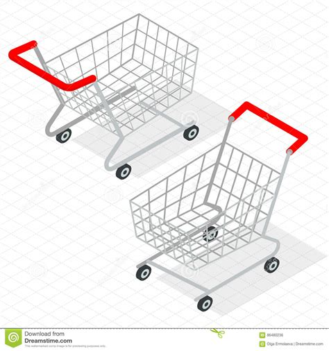 visitor pattern shopping cart shopping isometric design vector illustration