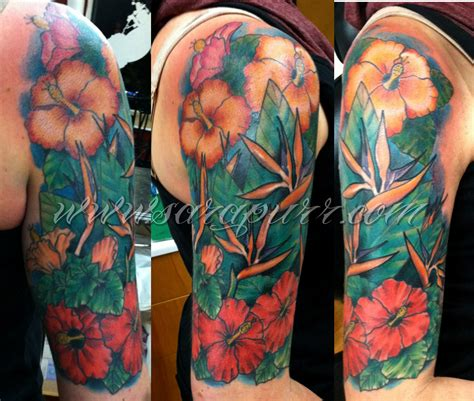 tropical quarter sleeve tattoo tropical sara purr tattoo
