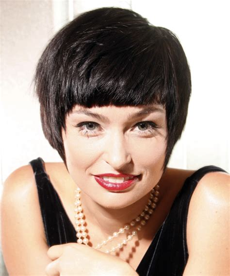 styles of the 1070 short straight casual hairstyle dark brunette hair color