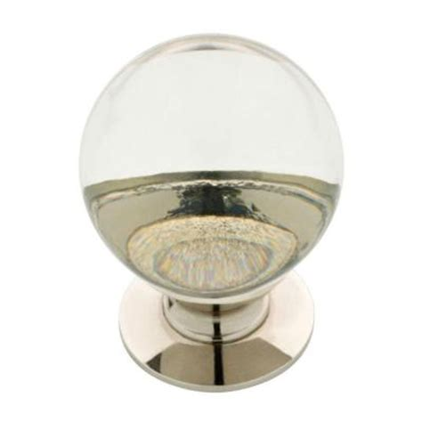 clear kitchen cabinet knobs liberty 1 1 4 in polished nickel and clear glass ball
