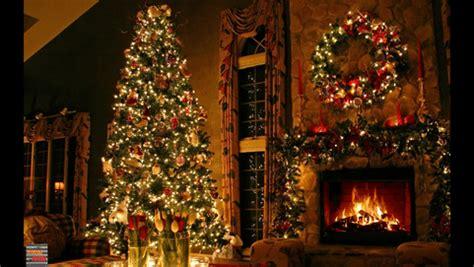 christmas fireplace burning decorated christmas tree  box playing christmas songs full hd