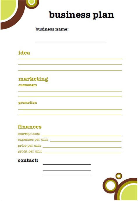 small business plan template business plan template free simple for small business