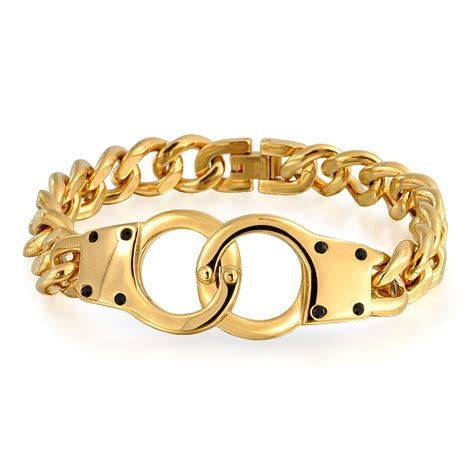 bling jewelry handcuff gold plated steel chain