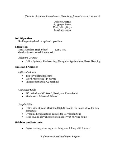 exle of student resume with no work experience resume exles for highschool students no work experience