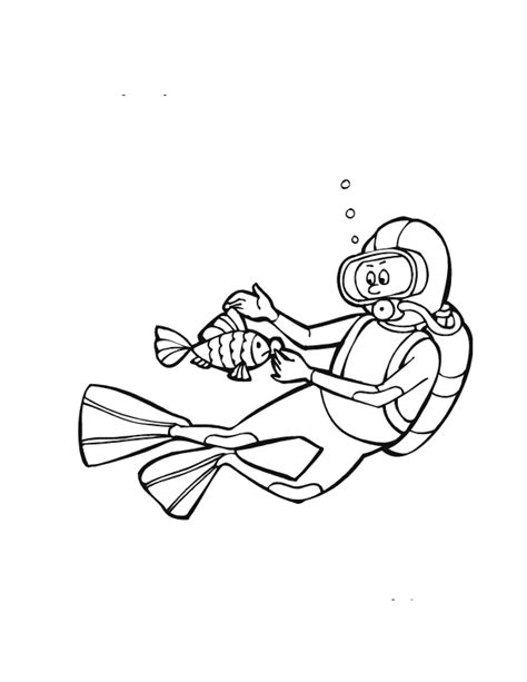 Printable Scuba Diver Coloring Pages by A Scuba Diver Coloring Pages