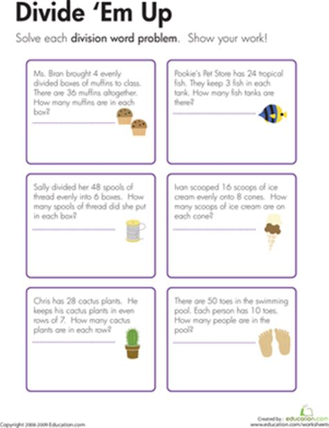 Division Word Problems Worksheets by Division Word Problems Divide Em Up Worksheet