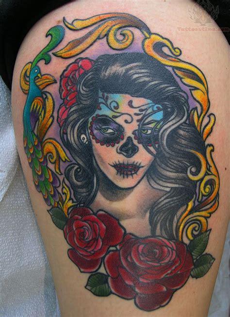 skull and rose tattoos for girls sugar skull images designs