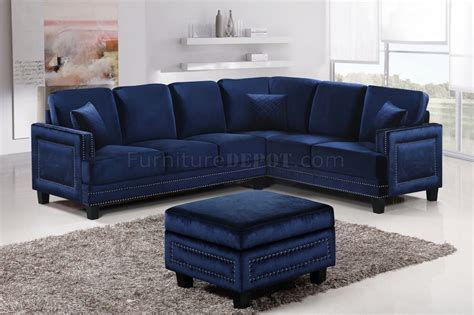 navy sectional sofa ferrara sectional sofa 655 in navy velvet fabric w options