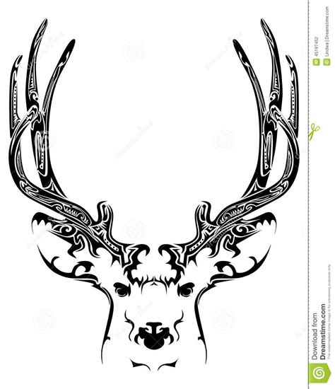 abstract deer head tribal tattoo stock vector image