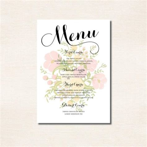 bridal shower menu template classic calligraphy menu for a wedding rehearsal dinner