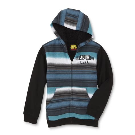 Hoodie Give Up 1 never give up by cena 174 boys lined hoodie jacket striped shop your way
