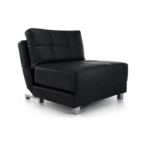faux leather futon chair bed in black next day