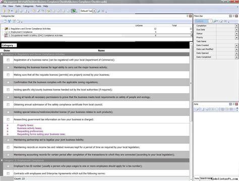 regulatory compliance reporting template business compliance checklist to do list organizer