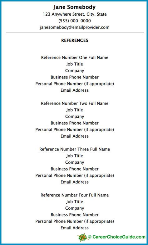Resume Reference Page by Resume Reference Page Setup