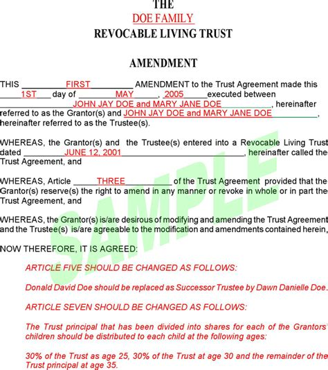revocable living trust template free revocable living trust amendment form pdf 58kb