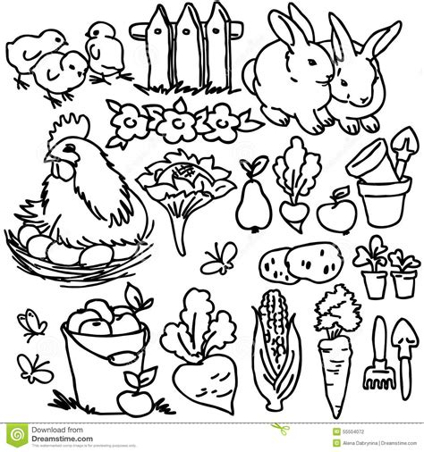 garden creatures coloring pages coloring book cartoon farm animals stock illustration