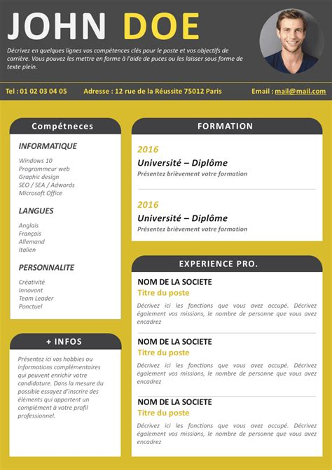 Exemple De Cv Simple Gratuit by Model De Cv Simple Gratuit Studio Design Gallery