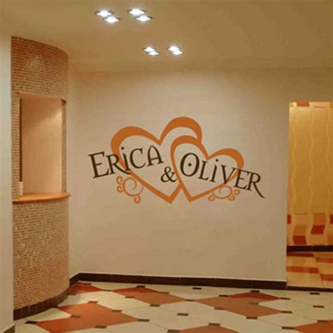 personalized wedding monograms hearts names wall decal sticker graphic