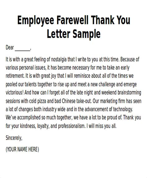 thank you letter to an employee who is leaving retirement thank you letter template gallery template