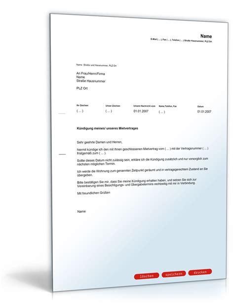 Musterbrief Kündigung Der Wohnung K 252 Ndigung Mietvertrag Fristlos Mieter Muster Vorlage