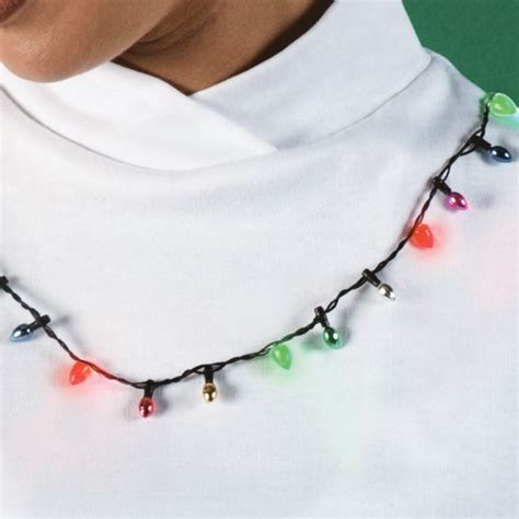 christmas flashing light bulb necklace view 2