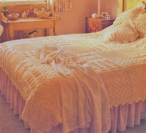 knitted bedspread heirloom aran bedspread cushions knitted in squares leaf